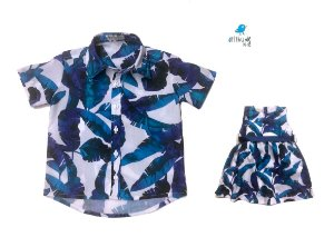Kit camisa Noah e vestido Nati - Tal pai, tal filha (duas peças) | Folhas