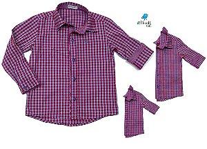 Kit camisa Cadú - Xadrez Lilás | Família (três peças) | Manga longa