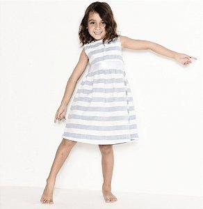 Vestido Manuela - Linho | Listrado Azul | Matheus