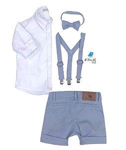 Conjunto Vittorio - Bermuda Alfaiataria, camisa e acessórios (4 peças) |Azul Petróleo
