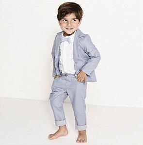 Conjunto Vittorio - Calça Alfaiataria, camisa e blazer (5 peças) | Azul Petróleo