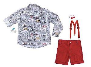 Conjunto Mickey - Camisa e Bermuda vermelha (quatro peças) |