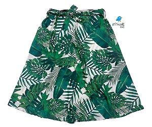 Saia Midi Luke - Verde| Adulto | Folhas   | Viscolinho | Lala
