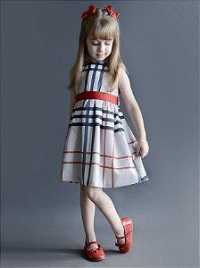 Vestido Rafaela - Bege Xadrez | Escolha a cor da fita