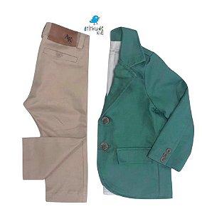 Conjunto Tim  - Verde Militar | Sarja (Blazer e Calça) | Alfaiataria