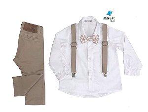 Conjunto Thor - Camisa Branca poá e Calça Bege (quatro peças) | Batizado