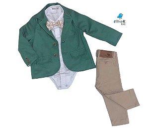 Conjunto Thor - Camisa poá branca, blazer, calça e gravata (quatro peças) | Batizado | Alfaiataria