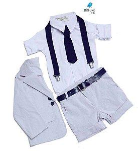 Conjunto Antony - Bermuda Alfaiataria, camisa, blazer e acessórios (5 peças) |Cinza Risca de Giz