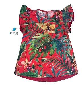 Vestido Joana - Folhas Vermelho