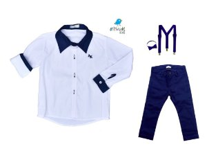 Conjunto Antony - Camisa Branca e Calça Azul Marinho (quatro peças) | Azul Marinho