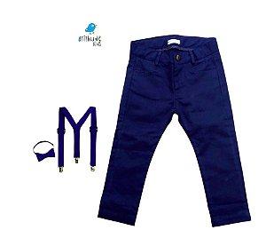 Conjunto Pablo - Calça Azul Marinho e Kit Suspensório  (três peças)