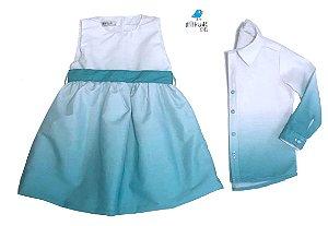 Conjunto Enzo e Iza - Vestido e Camisa | verde tie dye | Irmãos