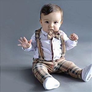 Conjunto Rafael - Calça Alfaiataria, camisa e acessórios (4 peças) | Xadrez Bege | Suede
