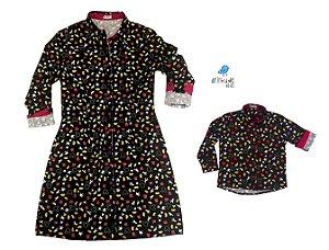 Conjunto Mickey  - Mãe e filho | Vestido e camisa | Mickey