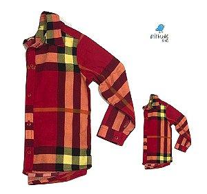 Kit camisa Olavo - Xadrez Vermelho | Tal pai, tal filho (duas peças) | Fazendinha