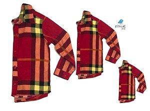Kit camisa Olavo - Família (três peças) | Xadrez Vermelho