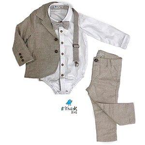 Conjunto Fausto Linho - Bege| Calça, Camisa, Blazer e Acessórios  (cinco peças)