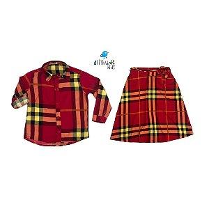 Kit Camisa e Saia Midi Olavo - Xadrez vermelho | Tal mãe, tal filho (duas peças) |Fazendinha