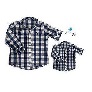 Kit camisa Cadú - Tal pai, tal filho (duas peças) | Xadrez azul marinho