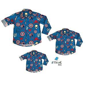 Kit camisa Nicky  - Avengers | Capitão América| Família (três peças) | Manga Longa