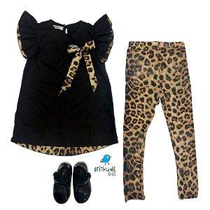 Vestido Anitinha - Com meia Animal print | Duas Peças