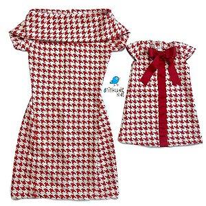 Conjunto Malu | Mãe e Filho |Vermelho - Estampa Pied Poule (duas peças)