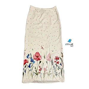 Saia Clara| adulta longa com abertura - Off white estampa aquarelada flores