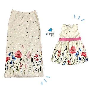 Conjunto Tal mãe, tal filha Clara | Saia adulta e vestido (2 peças)