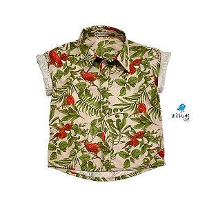 Camisa Luiz | Estampada folhas e pássaros