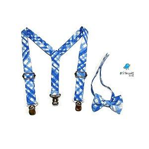 Kit suspensório + gravata borboleta | Xadrez azul
