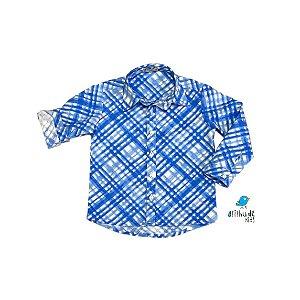 Camisa Marcus / Mari - Xadrez azul e branco | Adulto - Fazendinha