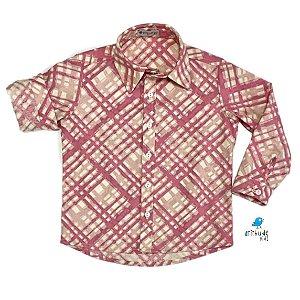 Camisa Marcus - Xadrez Rosa e Off white
