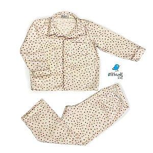 Pijama Nina | Adulto avulso - Poa offwhite e Rosa