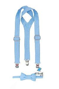 Kit suspensório + gravata borboleta - Azul Bebê | Sarja