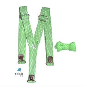 Kit suspensório + gravata borboleta - Poá Verde
