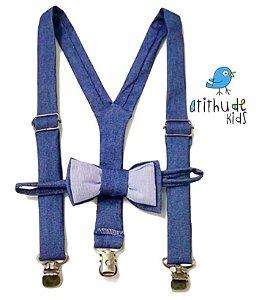 Kit suspensório + gravata borboleta - Jeans