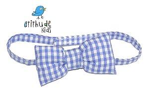 Gravata Borboleta - Xadrez Azul