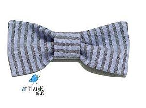 Gravata Borboleta - Listrada Cinza e Azul