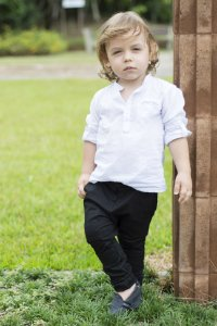 Camisa Sean - Branca  (Gola Padre)    | Cambraia