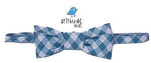 Gravata Borboleta - Xadrez Azul Claro