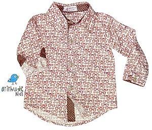 Camisa Theodoro - Estampa bege óculos