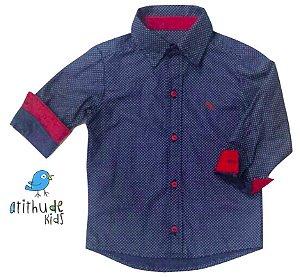 Camisa Giuliano - Azul marinho poá com detalhes em vermelho.