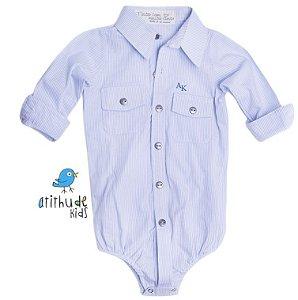 Camisa Davi - Azul listradinha (com dois bolsos)
