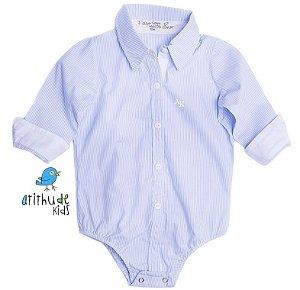 Camisa Davi - Azul listradinha (sem bolso)
