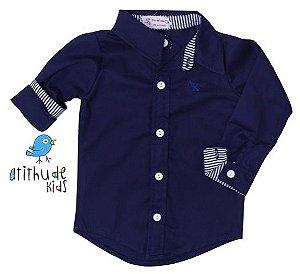 Camisa Nicolas - Azul marinho com listrado