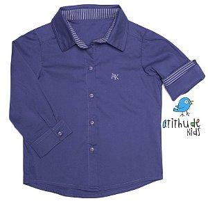 Camisa Luca - Azul Petróleo com listrado