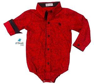 Camisa Ricky - Estampada Vermelha e Preta