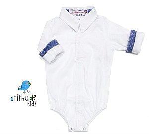 Camisa George - Branca com detalhe estampado azul