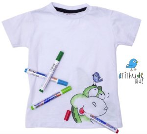 Camiseta para pintar (branca) - Dino