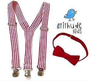 Kit suspensório + gravata borboleta - Listrado Vermelho